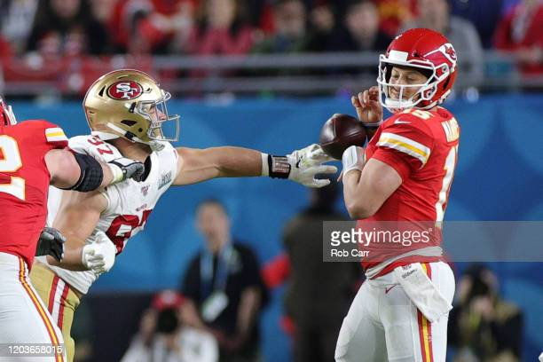 Patrick Mahomes of the Kansas City Chiefs fumbles the ball against the San Francisco 49ers during the third quarter in Super Bowl LIV at Hard Rock...