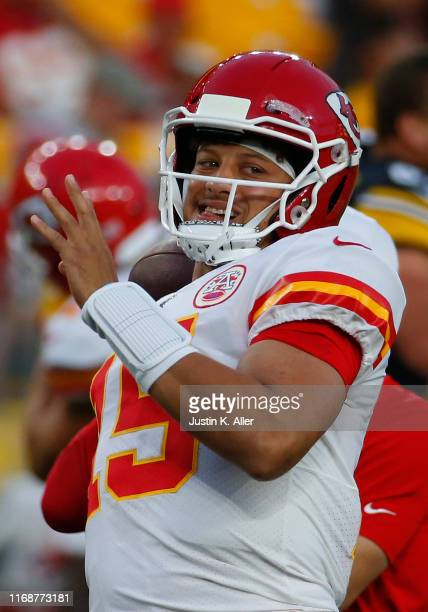 Patrick Mahomes of the Kansas City Chiefs in action during a preseason game against the Pittsburgh Steelers on August 17 2019 at Heinz Field in...