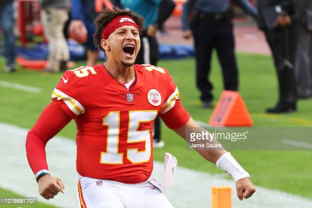 Patrick Mahomes of the Kansas City Chiefs is announced before the game against the New England Patriots at Arrowhead Stadium on October 05 2020 in...