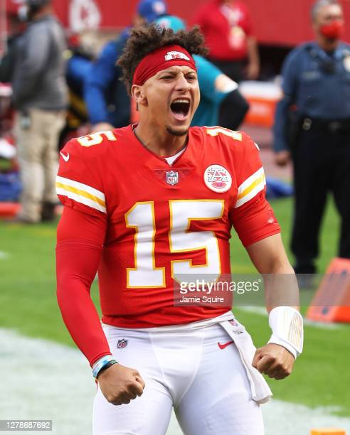 Patrick Mahomes of the Kansas City Chiefs is introduced before the game against the New England Patriots at Arrowhead Stadium on October 05, 2020 in...