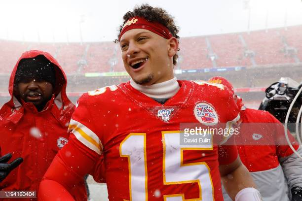 Patrick Mahomes of the Kansas City Chiefs jogs off the field following their win over the Denver Broncos at Arrowhead Stadium on December 15 2019 in...