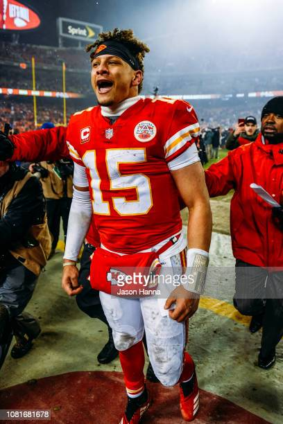 Patrick Mahomes of the Kansas City Chiefs lets out a yell to the crowd after defeating the Indianapolis Colts during the AFC Divisional Round playoff...