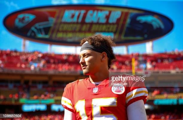 Patrick Mahomes of the Kansas City Chiefs looks on after a victory in the game against the San Francisco 49ers at Arrowhead Stadium on September 23rd...