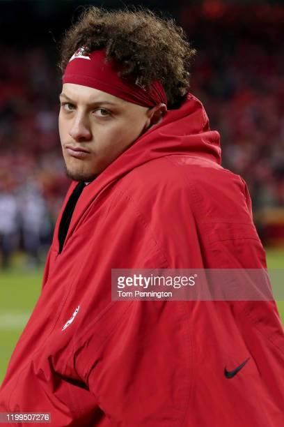 Patrick Mahomes of the Kansas City Chiefs looks on against the Houston Texans during the fourth quarter in the AFC Divisional playoff game at...