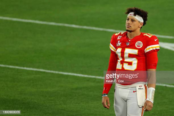Patrick Mahomes of the Kansas City Chiefs looks on before Super Bowl LV against the Tampa Bay Buccaneers at Raymond James Stadium on February 07,...