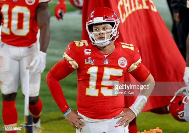 Patrick Mahomes of the Kansas City Chiefs looks on in the fourth quarter against the Tampa Bay Buccaneers in Super Bowl LV at Raymond James Stadium...