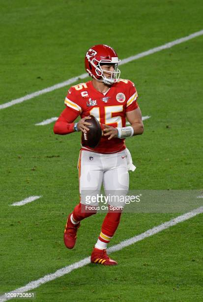Patrick Mahomes of the Kansas City Chiefs looks to pass against the San Francisco 49ers in Super Bowl LIV at Hard Rock Stadium on February 02 2020 in...