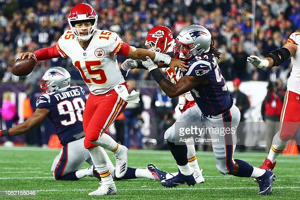 Patrick Mahomes of the Kansas City Chiefs looks to pass in ...