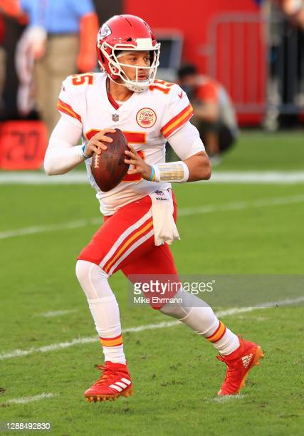 Patrick Mahomes of the Kansas City Chiefs looks to pass in the second quarter during their game against the Tampa Bay Buccaneers at Raymond James...