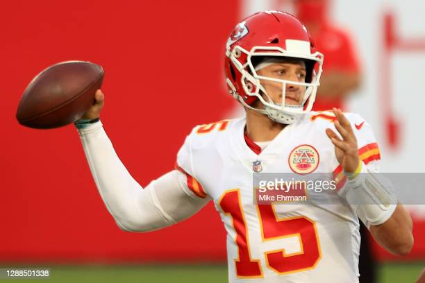 Patrick Mahomes of the Kansas City Chiefs looks to pass in the third quarter during their game against the Tampa Bay Buccaneers at Raymond James...