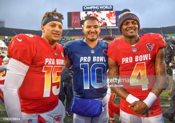 Patrick Mahomes of the Kansas City Chiefs Mitchell Trubisky of the Chicago Bears and Deshaun Watson of the Houston Texans pose after the 2019 NFL Pro...