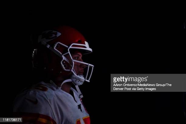 Patrick Mahomes of the Kansas City Chiefs prepares to take the field against the Denver Broncos before the first quarter on Thursday, October 17,...