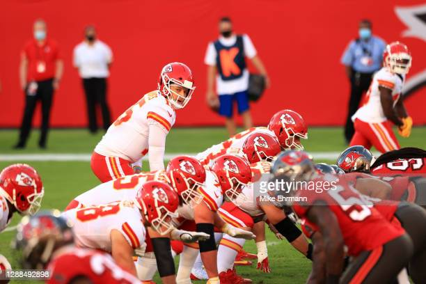 Patrick Mahomes of the Kansas City Chiefs prepares to take the snap in the second quarter during their game against the Tampa Bay Buccaneers at...