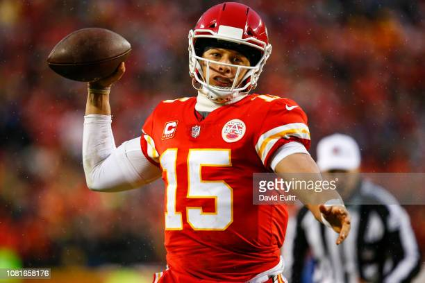 Patrick Mahomes of the Kansas City Chiefs pump fakes a pass Indianapolis Colts during the second quarter of the AFC Divisional Round playoff game at...