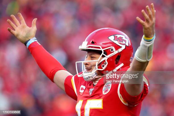 Patrick Mahomes of the Kansas City Chiefs reacts after a fourth quarter touchdown pass against the Tennessee Titans in the AFC Championship Game at...