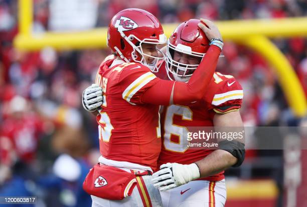 Patrick Mahomes of the Kansas City Chiefs reacts after a touchdown in the fourth quarter against the Tennessee Titans in the AFC Championship Game at...