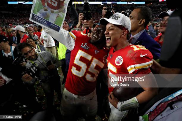 Patrick Mahomes of the Kansas City Chiefs reacts after defeating San Francisco 49ers by 31 20 in Super Bowl LIV at Hard Rock Stadium on February 02...