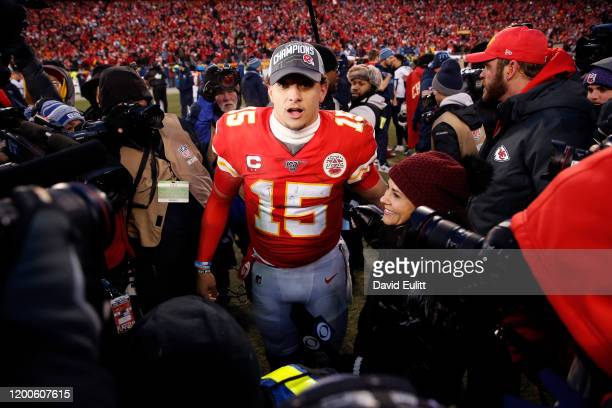 Patrick Mahomes of the Kansas City Chiefs reacts after defeating the Tennessee Titans in the AFC Championship Game at Arrowhead Stadium on January 19...