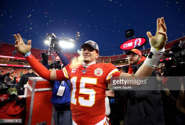 Patrick Mahomes of the Kansas City Chiefs reacts after defeating the Tennessee Titans in the AFC Championship Game at Arrowhead Stadium on January...
