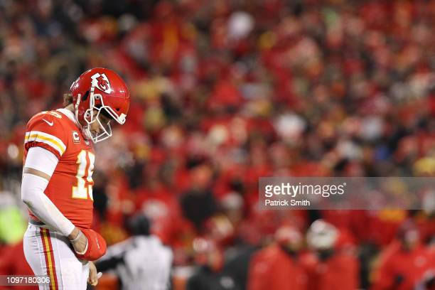 Patrick Mahomes of the Kansas City Chiefs reacts in the first half during the AFC Championship Game against the New England Patriots at Arrowhead...