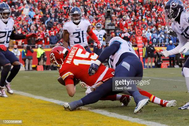 Patrick Mahomes of the Kansas City Chiefs runs for a 27 yard touchdown in the second quarter against the Tennessee Titans in the AFC Championship...