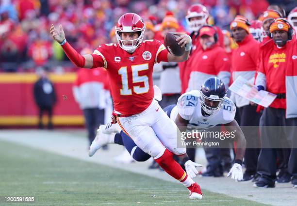 Patrick Mahomes of the Kansas City Chiefs runs on his way to scoring a 27 yard touchdown in the second quarter against the Tennessee Titans in the...