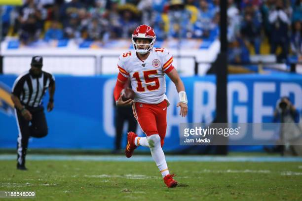 Patrick Mahomes of the Kansas City Chiefs runs with the ball during the game between the Kansas City Chiefs and the Los Angeles Chargers at Estadio...