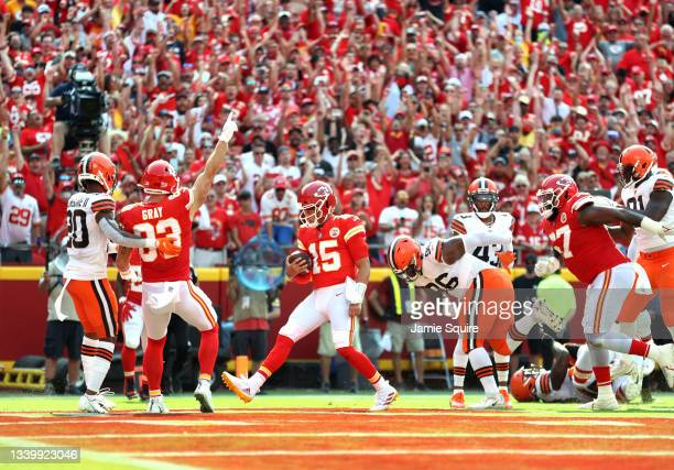 Patrick Mahomes of the Kansas City Chiefs scores a five yard touchdown during the second quarter against the Cleveland Browns at Arrowhead Stadium on...