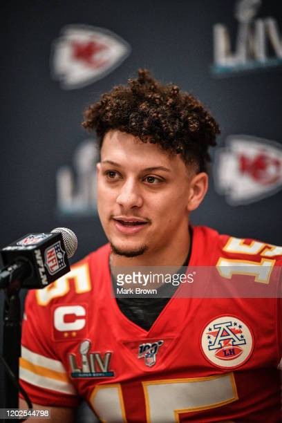 Patrick Mahomes of the Kansas City Chiefs speaks to the media during the Kansas City Chiefs media availability prior to Super Bowl LIV at the JW...