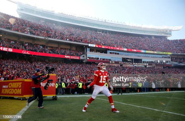 Patrick Mahomes of the Kansas City Chiefs takes the field before the AFC Championship Game against the Tennessee Titans at Arrowhead Stadium on...