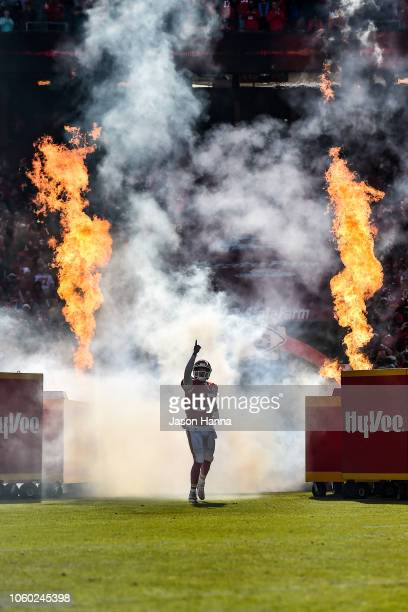 Patrick Mahomes of the Kansas City Chiefs takes the field prior to the game between the Kansas City Chiefs and the Arizona Cardinals at Arrowhead...
