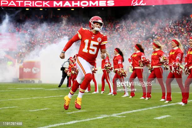 Patrick Mahomes of the Kansas City Chiefs takes the field prior to the game against the Oakland Raiders at Arrowhead Stadium on December 01 2019 in...