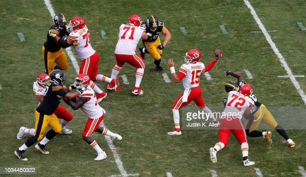 Patrick Mahomes of the Kansas City Chiefs throws a 25 yard touchdown pass to Travis Kelce in the second half during the game against the Pittsburgh...