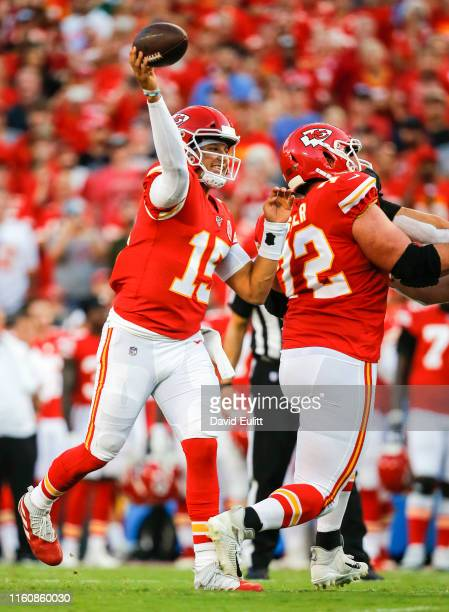 Patrick Mahomes of the Kansas City Chiefs throws a first quarter pass against the Cincinnati Bengals during a preseason game at Arrowhead Stadium on...
