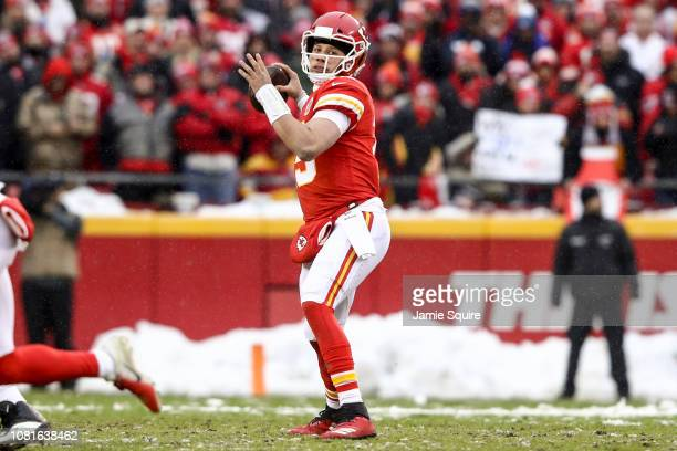 Patrick Mahomes of the Kansas City Chiefs throws a pass against the Indianapolis Colts during the first quarter of the AFC Divisional Round playoff...