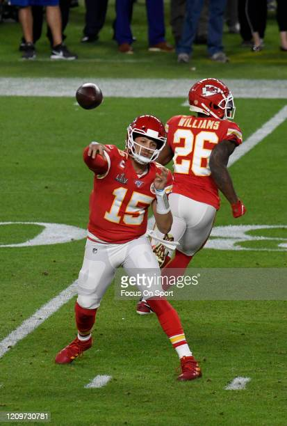 Patrick Mahomes of the Kansas City Chiefs throws a pass against the San Francisco 49ers in Super Bowl LIV at Hard Rock Stadium on February 02 2020 in...