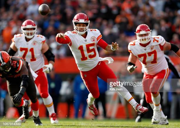 Patrick Mahomes of the Kansas City Chiefs throws a pass during the third quarter against the Cleveland Browns at FirstEnergy Stadium on November 4...