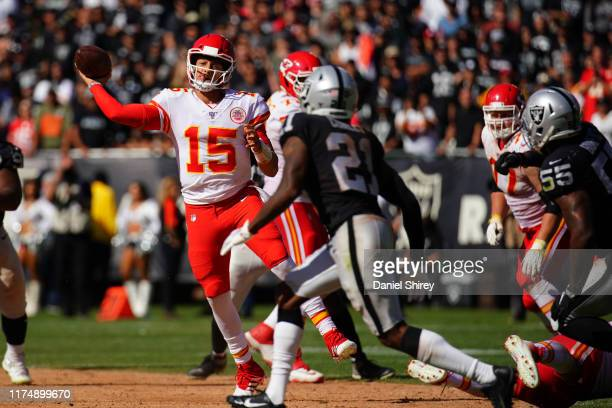 Patrick Mahomes of the Kansas City Chiefs throws a pass during the second half against the Oakland Raiders at RingCentral Coliseum on September 15...