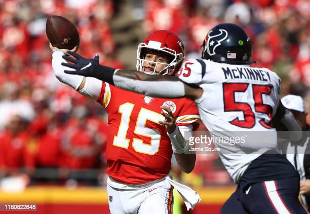 Patrick Mahomes of the Kansas City Chiefs throws a pass during the first half against the Houston Texans at Arrowhead Stadium on October 13 2019 in...
