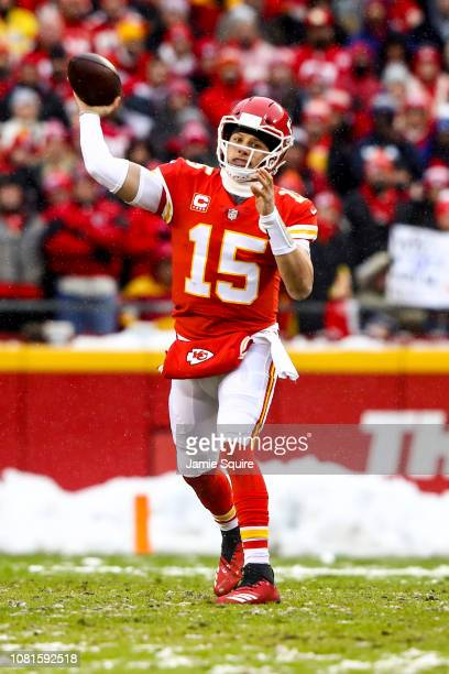 Patrick Mahomes of the Kansas City Chiefs throws a pass in the first quarter against the Indianapolis Colts during the AFC Divisional Round playoff...