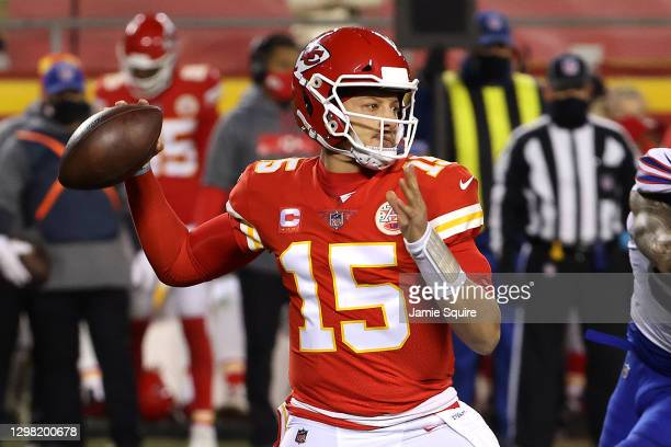 Patrick Mahomes of the Kansas City Chiefs throws a pass in the first half against the Buffalo Bills during the AFC Championship game at Arrowhead...