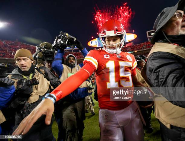 Patrick Mahomes of the Kansas City Chiefs walks off the field following his teams win against the Houston Texans in the AFC Divisional playoff game...
