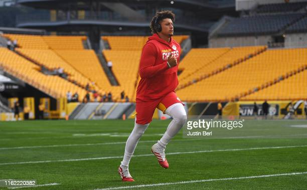 Patrick Mahomes of the Kansas City Chiefs warms up before a preseason game against the Pittsburgh Steelers at Heinz Field on August 17 2019 in...