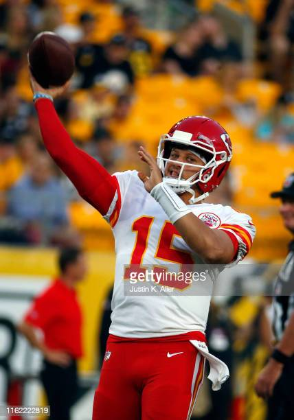 Patrick Mahomes of the Kansas City Chiefs warms up before the game against the Pittsburgh Steelers during a preseason game on August 17 2019 at Heinz...