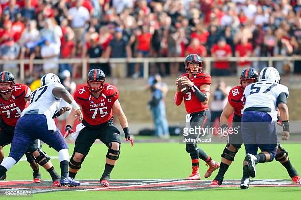 Patrick Mahomes of the Texas Tech Red Raiders looks for a receiver against the TCU Horned Frogs on September 26, 2015 at Jones AT&T Stadium in...