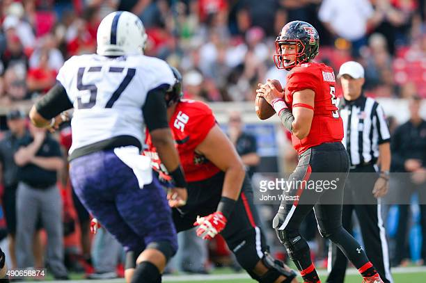Patrick Mahomes of the Texas Tech Red Raiders looks over the defense during the game against the TCU Horned Frogs on September 26, 2015 at Jones AT&T...