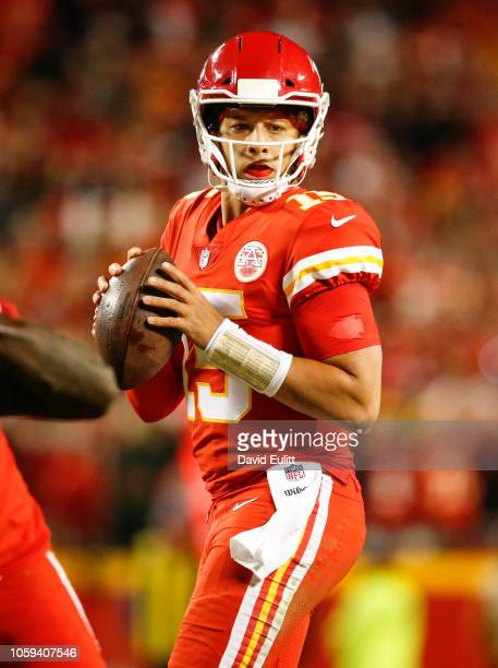 Patrick Mahomes quarterback with the Kansas City Chiefs prepared to throw the football against the Cincinnati Bengals at Arrowhead Stadium on October...