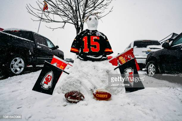 Patrick Mahomes snowman constructed by Kansas City Chiefs fans sits in the parking lot prior to the AFC Divisional Round playoff game between the...