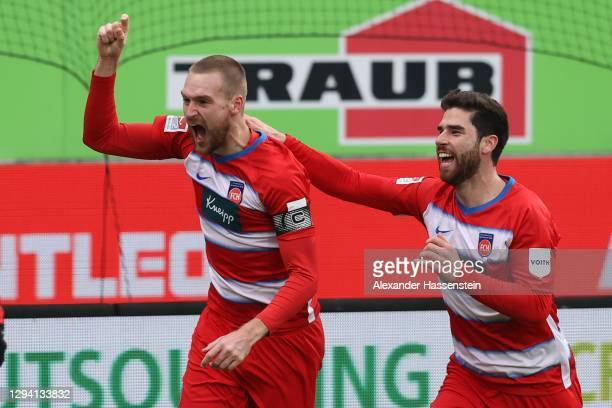 Patrick Mainka of Heidenheim celebrates scoring the 2nd team goal with his team mate Stefan Schimmer during the Second Bundesliga match between 1. FC...