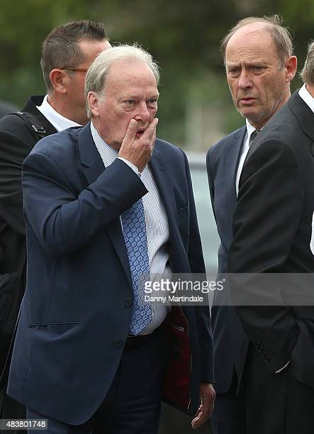 Patrick Malahide and Dennis Waterman attends the funeral of George Cole at Reading Crematorium on August 13 2015 in Reading England